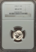 Roosevelt Dimes, 1983-P 10C MS67 Full Bands NGC. Mintage: 647,025,024.. From The Paul Kiraly #1 ...