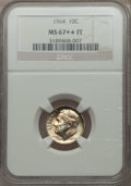 Roosevelt Dimes, 1964 10C MS67+ ★ Full Bands NGC. NGC Census: (29/0). PCGS Population (22/0). Mintage: 929,299...