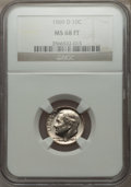 Roosevelt Dimes, 1969-D 10C MS68 Full Bands NGC. NGC Census: (1/0). Mintage: 563,323,840.. From The Paul Kiraly #1 ...