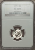 Roosevelt Dimes, 1970 10C MS66 Full Bands NGC. NGC Census: (2/1). PCGS Population (1/0). Mintage: 345,569,984.. From The Paul Kiraly #1 NG...