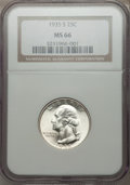 Washington Quarters: , 1935-S 25C MS66 NGC. NGC Census: (121/36). PCGS Population(255/30). Mintage: 5,660,000. Numismedia Wsl. Price for problem ...