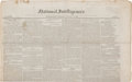 """Miscellaneous:Newspaper, [Mexican War]. National Intelligencer. Four pages, 19"""" x 23.75"""", Washington, August 12, 1847, with the latest ne..."""