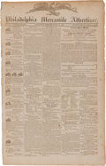 "Miscellaneous:Newspaper, [Newspaper]. Philadelphia Mercantile Advertiser. Four pages,13"" x 20.75"", June 20, 1810, with a front page adve..."
