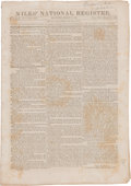 "Miscellaneous:Newspaper, [Newspaper]. Niles' National Intelligencer. Sixteen pages(paginated 33-48), 8.75"" x 12.5"", Baltimore, March 21,..."