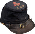 Military & Patriotic:Civil War, Forage Cap with Original 2nd Corps Badge and Regimental Insignia of the 140th Pa Infantry...