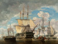 Fine Art - Painting, European:Antique  (Pre 1900), JULES SCHAUMBURG (Belgian, 1839-1886). Ships at Sea, 1861.Oil on canvas. 32 x 41-1/2 inches (81.3 x 105.4 cm). Signed a...