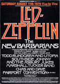 Music Memorabilia:Posters, Led Zeppelin/New Barbarians Knebworth Festival Poster (1979)....