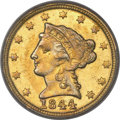 Liberty Quarter Eagles, 1844-C $2 1/2 MS61 PCGS. Variety 1....