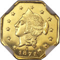 California Fractional Gold , 1871 $1 Liberty Octagonal Dollar, BG-1109, Low R.4, MS66 DeepProoflike NGC....