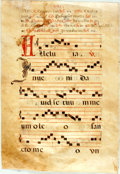 Books:Prints & Leaves, Antiphonal Manuscript Leaf on Vellum. Ca. 1500s. Large leaf fromchoir book or antiphoner containing five bars of music on r...