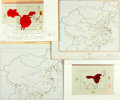 Books:Maps & Atlases, [Production Art] Cal Sacks. Group of Four Maps of China. Largest measures 17 x 14.5 inches. Good. From the American Herita...