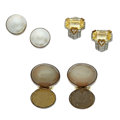 Estate Jewelry:Lots, Citrine, Diamond, Mabe Pearl, Sterling Silver, Gold Earrings. ... (Total: 3 Items)