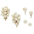 Estate Jewelry:Pearls, Lot of Cultured Pearl, Gold Earrings. ... (Total: 3 Items)