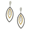 Estate Jewelry:Earrings, Colored Diamond, Diamond, Sapphire, White Gold Earrings, Eli Frei....