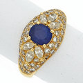 Estate Jewelry:Boxes, Sapphire, Diamond, Gold Ring. ...