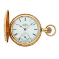 Timepieces:Pocket (post 1900), Elgin 14k Gold Hunter's Case Ppocket Watch. ...