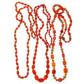 Estate Jewelry:Necklaces, Carnelian, Gold-Plated Silver Necklaces. ... (Total: 3 Items)
