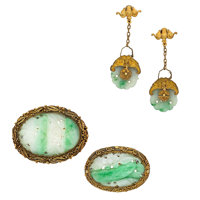 Jadeite Jade, Gold-Plated Silver Jewelry