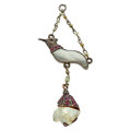 Estate Jewelry:Pendants and Lockets, Natural Pearl, Ruby, Mother-of-Pearl, Enamel, Silver Pendant. ...