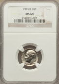Roosevelt Dimes: , 1983-D 10C MS68 NGC. NGC Census: (2/0). Mintage: 730,129,216. Numismedia Wsl. Price for problem free...
