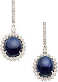 Estate Jewelry:Earrings, Burmese Sapphire, Diamond, Gold Earrings . ...