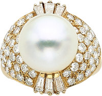 South Sea Cultured Pearl, Diamond, Gold Ring