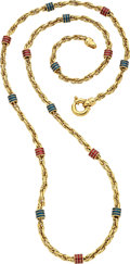 Estate Jewelry:Necklaces, Enamel, Gold Necklace. ...