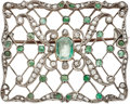 Estate Jewelry:Brooches - Pins, Antique Beryl, Quartz, Diamond, Silver-Topped Gold Brooch. ...