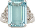 Estate Jewelry:Rings, Art Deco Aquamarine, Diamond, Platinum Ring. ...