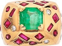 Emerald, Ruby, Synthetic Ruby, Diamond, Gold Ring