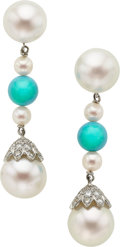Estate Jewelry:Earrings, Cultured Pearl, Diamond, Turquoise, White Gold Earrings. ...