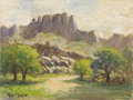 Texas:Early Texas Art - Impressionists, ROLLA TAYLOR (1871-1970). Untitled Big Bend Scene. Oil oncanvasboard. 9in. x 12in.. Signed lower left. Rolla Taylor was o...