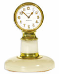 Timepieces:Clocks, Tiffany & Co., Gold, 8-Day Pedestal Clock, Movement By Concord Watch Co., Circa 1933. Case: 58 mm, 18k yellow gold on a se...