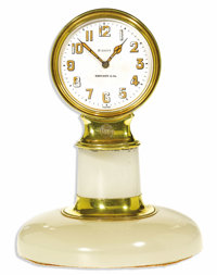 Tiffany & Co., Gold, 8-Day Pedestal Clock, Movement By Concord Watch Co., Circa 1933  Case: 58 mm, 18k yellow gold o...