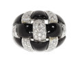 Estate Jewelry:Rings, Diamond, Black Onyx, White Gold Ring, Sabbadim. The ring, of bombeform, features pave set full-cut diamonds weighing a to...