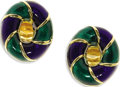 Estate Jewelry:Earrings, Enamel, Gold Cuff Links, Verdura. The double-sided oval-shaped cufflinks feature blue and green enamel applied on 18k yel...