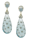 Estate Jewelry:Earrings, Aquamarine, Diamond, Platinum Earrings. Each earring features anelongated teardrop-shaped aquamarine cabochon measuring a...