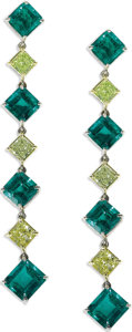 Estate Jewelry:Earrings, Emerald, Colored Diamond, Platinum, Gold Earrings. Each danglingearring features yellow radiant-cut diamonds, set in 18k ...