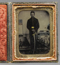 Military & Patriotic:Civil War, Armed Union Artilleryman 1/6th Plate Tintype. Looking neither cocky nor afraid, this matter-of-fact Yankee soldier seems rea...