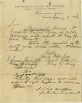 """Military & Patriotic:Civil War, Rare Confederate Navy Document Signed, """"Josiah Tattnall"""". One page letterhead pre-printed with """"Confederate States Navy ..."""