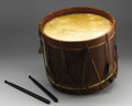 "Military & Patriotic:Civil War, Iowa Volunteers Drum. 14"" high x 17"" wide, this drum has seen some action! The top head has extensive repairs and is backed ..."