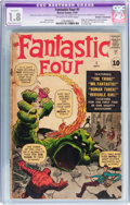 Silver Age (1956-1969):Superhero, Fantastic Four #1 Married Cover/Pages (Marvel, 1961) CGC Apparent GD- 1.8 Slight/Moderate (C-2) Off-white to white pages....