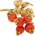 Estate Jewelry:Brooches - Pins, Coral, Gold Brooch, Tiffany & Co.. ...