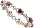 Estate Jewelry:Bracelets, Garnet, Diamond, White Gold Bracelet. ...
