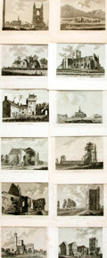 Books:Prints & Leaves, [Castles] Forty Prints Depicting Castles. 1790s. Small quartos. Some roughness to edges. Scattered foxing. Some with library...