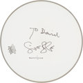 Music Memorabilia:Autographs and Signed Items, Cream - Ginger Baker Signed Drumhead (Circa 2000). ...