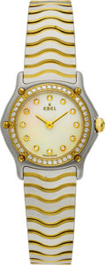 Estate Jewelry:Watches, Ebel Lady's Diamond, Mother-Of-Pearl, Gold, Stainless Steel WaveWristwatch. ...
