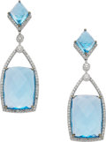 Estate Jewelry:Earrings, Topaz, Diamond, White Gold Earrings, Eli Frei. ...