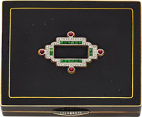 Art Deco Diamond, Emerald, Ruby, Enamel, Gold Compact
