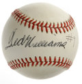 "Autographs:Baseballs, Ted Williams Single Signed ""#9"" Baseball. Few items in the hobbycarry the appeal of this one: a great black ink sweet spot..."